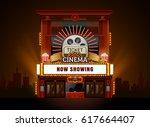 theater cinema building vector... | Shutterstock .eps vector #617664407