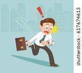 businessman watching his wrist... | Shutterstock .eps vector #617674613