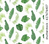 tropical palm leaves hand drawn ... | Shutterstock .eps vector #617676407