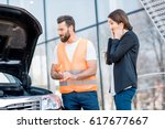 handsome service worker... | Shutterstock . vector #617677667