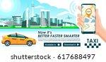 taxi app banner. city skyline... | Shutterstock .eps vector #617688497