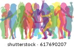 vector silhouette of children... | Shutterstock .eps vector #617690207