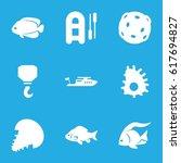 fishing icons set. set of 9... | Shutterstock .eps vector #617694827