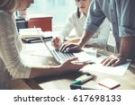 group of young business people... | Shutterstock . vector #617698133