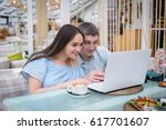 young boy and girl in a blue... | Shutterstock . vector #617701607