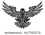 bald eagle mascot swooping with ... | Shutterstock .eps vector #617702273