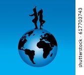 vector silhouette of children... | Shutterstock .eps vector #617703743