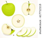 set of vector apple. whole ... | Shutterstock .eps vector #617712113