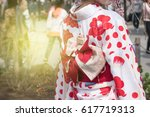 foreigner tourist wearing...   Shutterstock . vector #617719313
