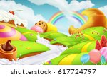 sweet candy land. 3d vector... | Shutterstock .eps vector #617724797