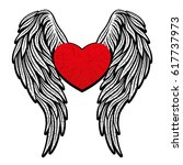 heart with wings. | Shutterstock .eps vector #617737973