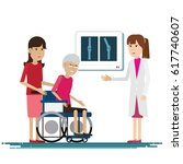 doctor medical with grandmother ... | Shutterstock .eps vector #617740607