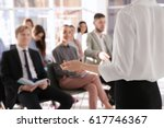 business trainer giving... | Shutterstock . vector #617746367