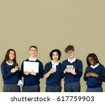 group of diverse students using ... | Shutterstock . vector #617759903