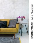 colorful sofa in modern rustic... | Shutterstock . vector #617762813