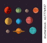 planets icon set  pixel art... | Shutterstock .eps vector #617776937
