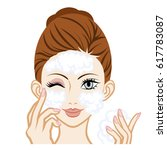 washing face  facial close up