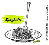 pasta on fork and plate.... | Shutterstock .eps vector #617786363