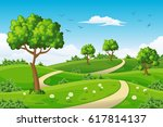 illustration of a summer... | Shutterstock .eps vector #617814137