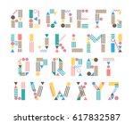 modern hand drawn alphabet.... | Shutterstock .eps vector #617832587