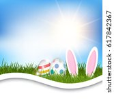 easter background with eggs and ... | Shutterstock .eps vector #617842367