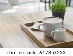 hot cocoa on wood table | Shutterstock . vector #617853233