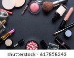 decorative cosmetics set | Shutterstock . vector #617858243