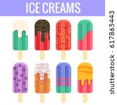 set of colorful ice creams and... | Shutterstock .eps vector #617865443