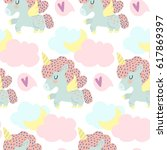 vector pattern with cute... | Shutterstock .eps vector #617869397