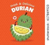 vintage fruits poster design... | Shutterstock .eps vector #617869523