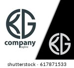 initial letter kg with linked... | Shutterstock .eps vector #617871533