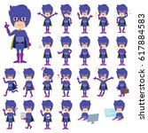 set of various poses of super... | Shutterstock .eps vector #617884583