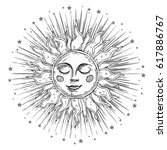 hand drawn sun with face and... | Shutterstock .eps vector #617886767