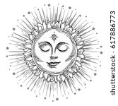 hand drawn sun with face and... | Shutterstock .eps vector #617886773