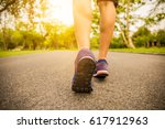 women healthy jogging during... | Shutterstock . vector #617912963