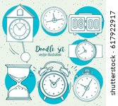 time icon set in cartoon style. ... | Shutterstock .eps vector #617922917