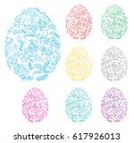 floral decorative easter eggs   ...   Shutterstock . vector #617926013