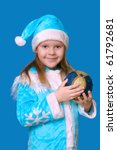 the christmas girl in a blue... | Shutterstock . vector #61792681