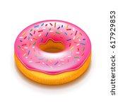 pink donut isolated on white... | Shutterstock .eps vector #617929853