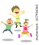 happy jumping kids | Shutterstock .eps vector #617936363