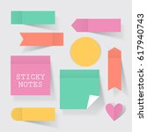 colorful business sticky notes... | Shutterstock .eps vector #617940743