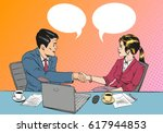business man and woman agree on ... | Shutterstock .eps vector #617944853