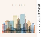 transparent style baltimore... | Shutterstock .eps vector #617950607