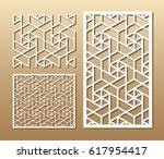 die cut card. laser cut vector... | Shutterstock .eps vector #617954417