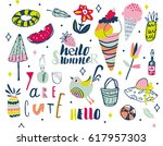 summer lettering and elements... | Shutterstock .eps vector #617957303