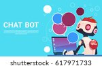chat bot using laptop computer  ... | Shutterstock .eps vector #617971733