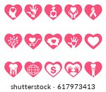 charity icons set in heart | Shutterstock .eps vector #617973413