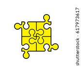 simple puzzle four piece... | Shutterstock .eps vector #617973617