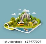 mountain  forest  green meadow... | Shutterstock . vector #617977007