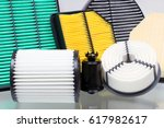 composition of air filters for... | Shutterstock . vector #617982617
